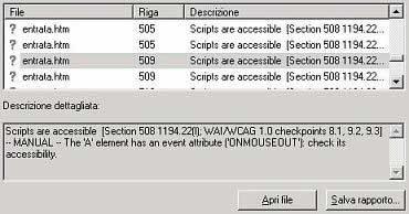finestra 'Evaluate and Fix...' della Suite 508, che evidenzia i problemi di accessibilità presenti nel file