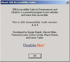 finestra di presentazione della Suite di UsableNet, visibile in Dreamweaver