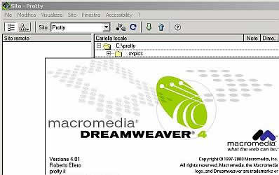 screenshot dell'interfaccia di Dreamweaver con le informazioni sul programma